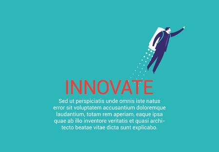 Zakenman met een raket die nieuwe manieren vindt. Creativiteit vector illustratie concept. Stock Illustratie