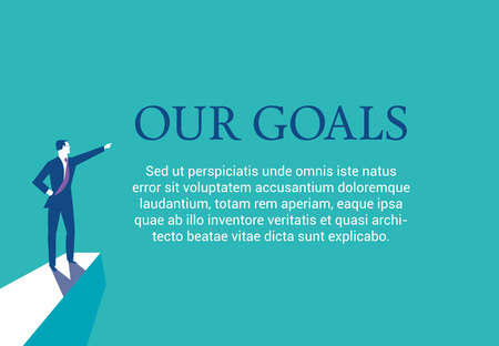 Businessman standing on top of a mountain lpresenting his goals. Web page layout
