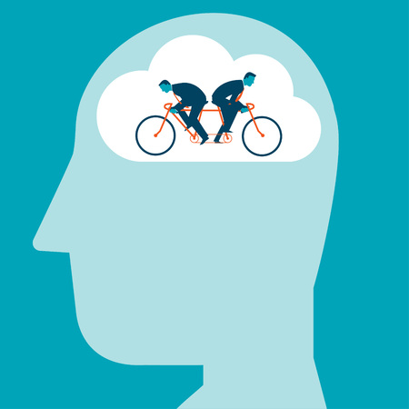 Two Businesmen riding the same bike in opposite directions inside of a brain. Vector illustration creativity concept