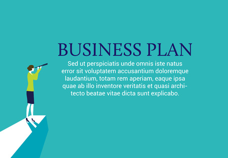 Businesswoman standing on top of a mountain with a spyglass looking for a business plan. Web page layout Ilustração