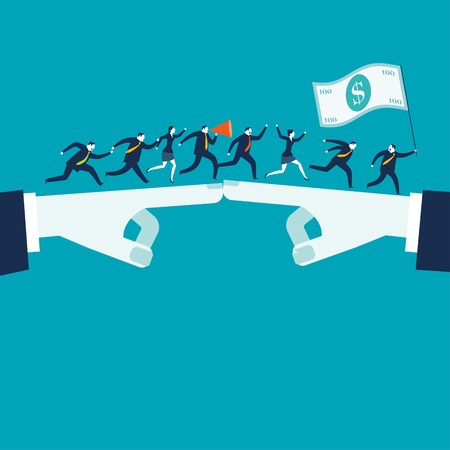to compromise: Businesswomen and businessmen running after money. Business and teamwork concept illustration