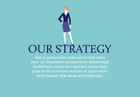 Businesswoman standing presenting her business strategy. Web page layout.