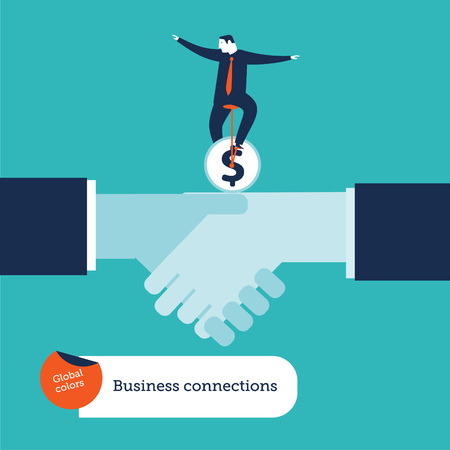 Businessman riding a money monobike on a handshake