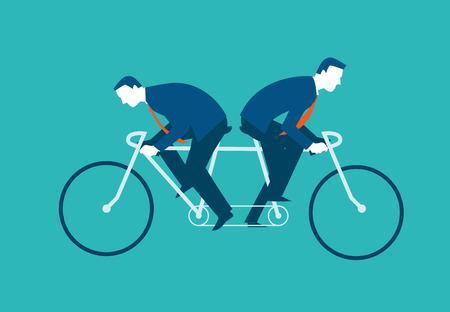 Deux hommes d'affaires montent le même vélo mais dans des directions opposées. Vector illustration business concept