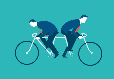 Two businessmen riding the same bike but in opposite directions. Vector illustration business concept Vettoriali