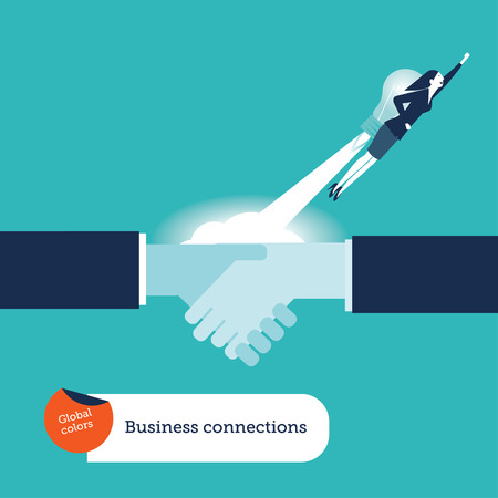 Businesswoman with rocket flying over a handshake.  Woman's business start up. Vector illustration business connections concept