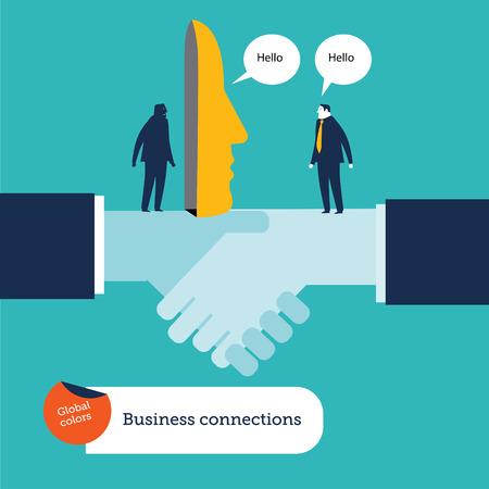 dishonesty: Businessman talking behind a mask dishonesty. on a handshake