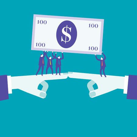Business people holding a hundred dollar note. Vector illustration business concept