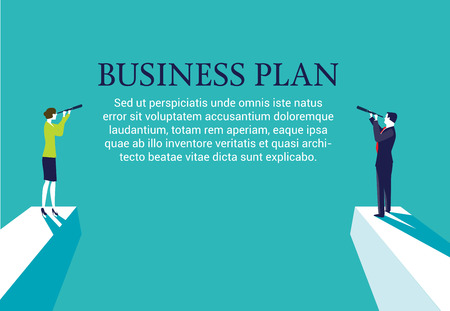 Businesswoman and businessman standing on top of a mountain with a spyglass looking for a business plan. Web page layout
