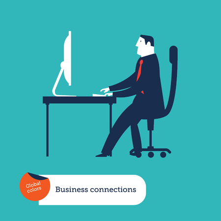 Businessmen with computer checking his emails Ilustrace
