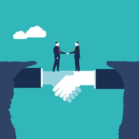 Empresarios estrechándose la mano. Ilustración del concepto de negocio,