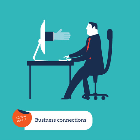 Businessmen with computer with a businessmans hand going out from his computer