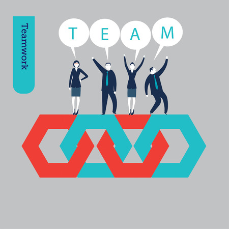 A group of businessmen and businesswomen standing on some hexagons