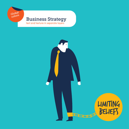 Business man chained to his limiting beliefs