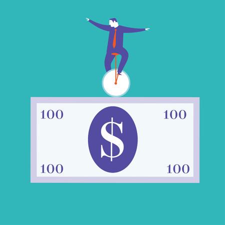 Businessman riding a monobike on a dollar bill Ilustrace