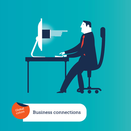 Businessman hold megaphone on computer laptop. Concept Business Vector Illustration