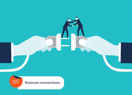 Businessmens hand connecting socket and plug with two businessmen helping each other Ilustrace