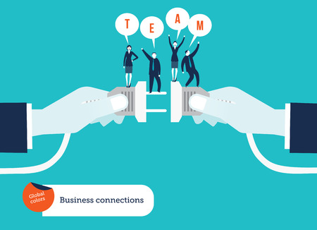 Businessmens hand connecting socket and plug with businessteam Illusztráció