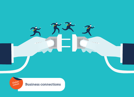 Businessmens hand connecting socket and plug with businessmen running on top of it