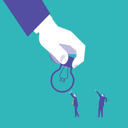 modern idea innovation light bulb infographic concept. Conceptual web illustration of businessman hand holding lamp. Business concept idea Ilustrace