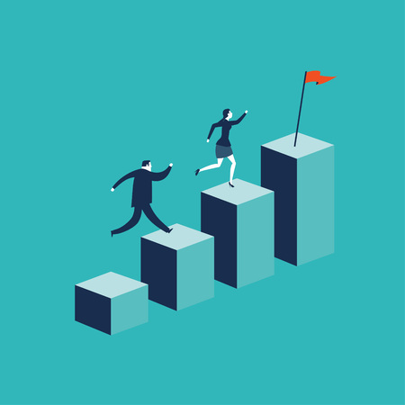 Growth concept with businessman jumping on chart columns. Success, achievement, motivation business symbol, Growth Illustration