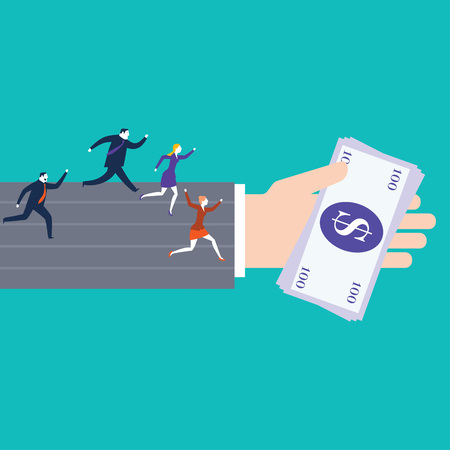 Race, Businessmen running down the track. Business vector illustration