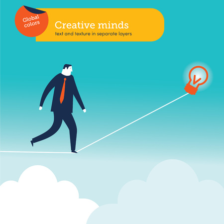 Vector illustration. Risk and challenge in business. Conquering adversity problems solution