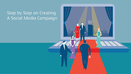 step by step social media creation with businessman on red carpet