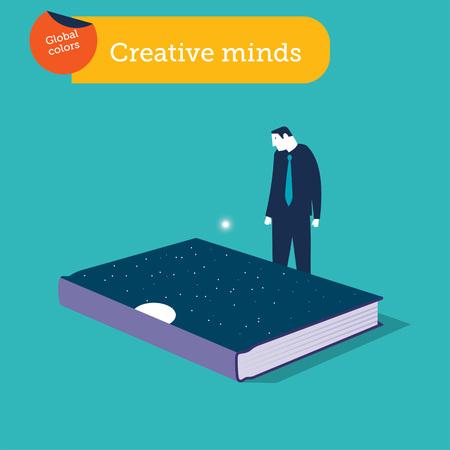 Geschäftsmann, der einen Bucheinband mit Sternen und Mond betrachtet. Vektor-Illustration. Globale Farben. Vektorgrafik