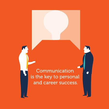 Two businessmen speaking communication concept business- vector Illustration