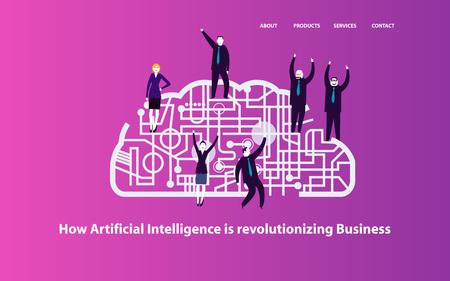 Group of business people celebration on a cyber brain concept Reklamní fotografie - 123329274