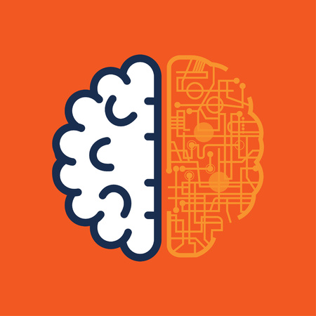 Brain icon technology on orange background Stok Fotoğraf - 123329270