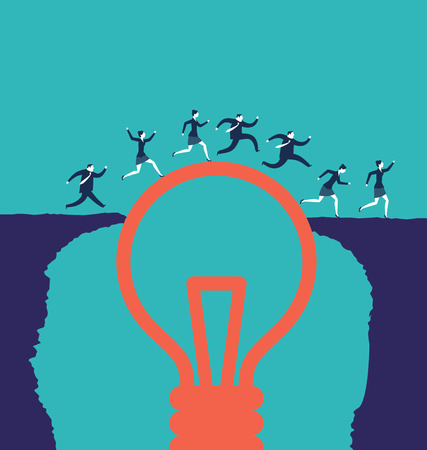 Business people crossing an abyss over a lightbulbs. Business concepts. - Vector Reklamní fotografie - 125776534
