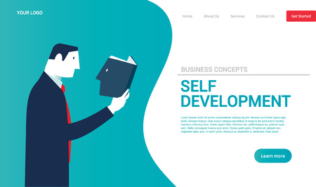 Businessman reading a book with his head. Business concepts. - Vector Reklamní fotografie - 125776535