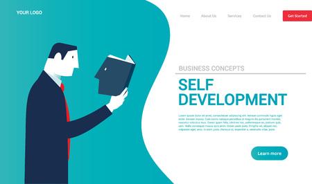 Hombre de negocios leyendo un libro con la cabeza. Conceptos de negocio. - Vector