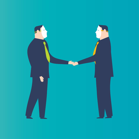 Two businessmen shaking hands with masks. Business concepts. -Vector Illustration- Ilustrace