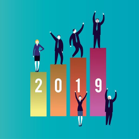 2019 New year, Business planning and saving concept. Business people celebrating an incredible good year 2019 -Vector Illustration- Reklamní fotografie - 125577146