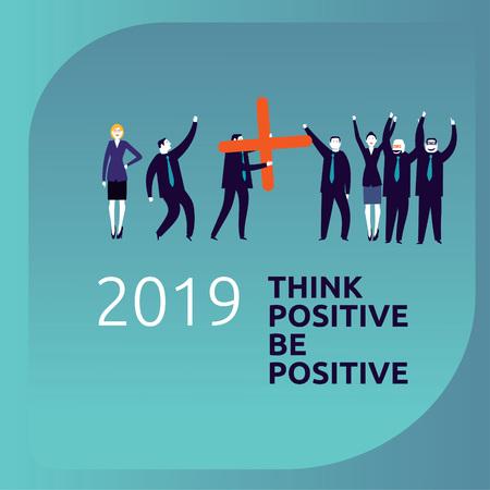 Be positive, Business people celebrating an increidible good year 2019 -Vector Illustration- Reklamní fotografie - 125577147