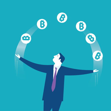 Acrobat. Businessman juggling with bitcoins icons. Concept business vector illustration - Vector Reklamní fotografie - 125577148