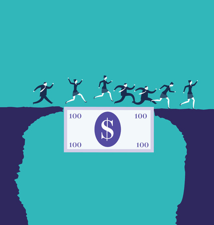 Business people crossing an abyss over a dollar bill. Business concepts. - Vector Illustration