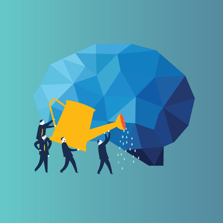 Businessman looking at a book cover with stars and moon. Conceptual image of a businessmen squirting a human brain . - Vector Illustration Reklamní fotografie - 125535168