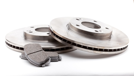 brake disc: New front brake disks and pads for a modern car