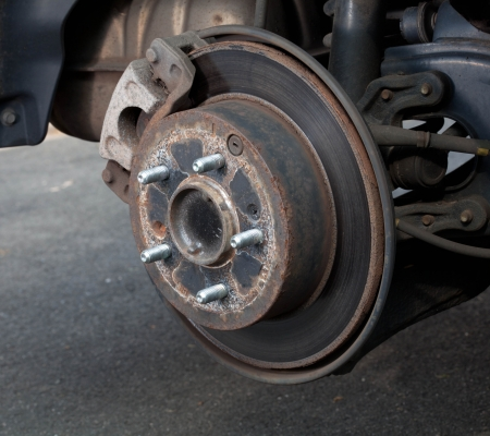 Rear brack disk with tire removed about to be replaced Stock Photo - 15493775