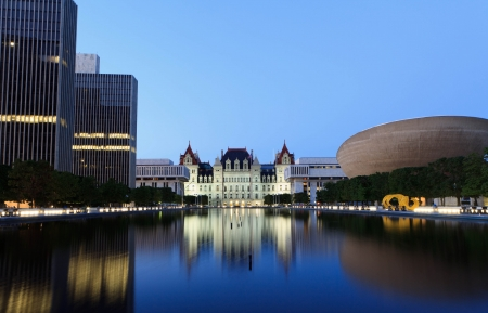 new scenery: State Capitol of New York, Albany after sunset