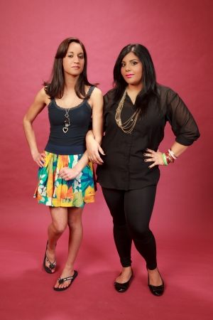 Hispanic and Indian girl in the studio photo
