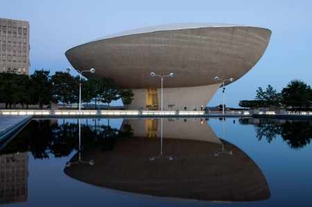 Evening shot of The Egg - Performing Arts Center on Empire State Plaza in Albany New York