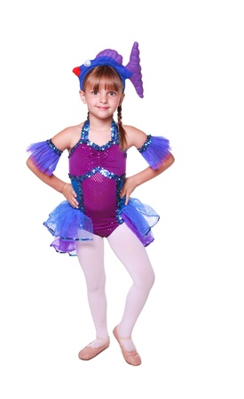 5 Year old girl with dancing costume on a white background Stock Photo - 16941536