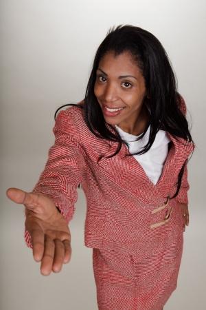 spokesperson: Silly businesswoman in retro suite as a spokesperson salesperson