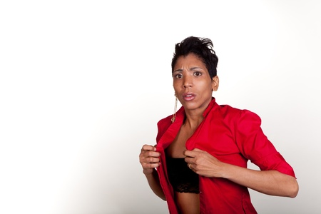 African American Hispanic woman being startled while changing - Part of a Series photo