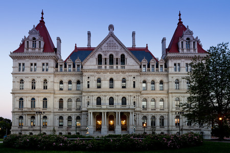 Closeup of the west facade of the State Capitol Building of New York, Albany after sunset Editorial